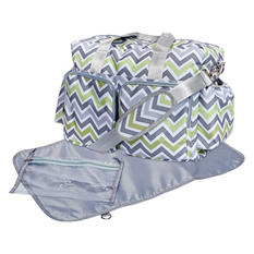 Trend Lab Deluxe Duffle Diaper Bag, Green, Gray and White Chevron