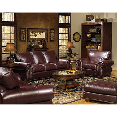 Franklin 3 Piece Leather Living Room Set Sam 39 S Club