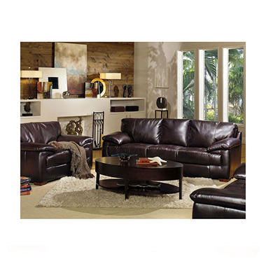 Hartford leather living room 3 piece set sam 39 s club for 7 piece living room set with tv