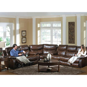 Colton Leather Reclining Sectional Living Room 3-Piece Set