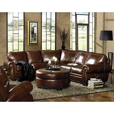 Arlington Vintage Leather Craftsman 2-Piece Top-Grain Leather Sectional