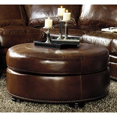 Arlington Vintage Leather Craftsman Round Ottoman