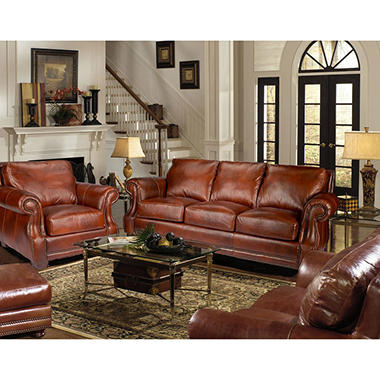 Bristol vintage leather craftsman 4 piece living for Living room set deals