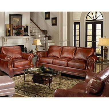 bristol vintage leather craftsman living room set sam s club