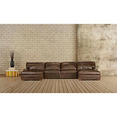 Java Vintage Top Grain Leather Craftsman 3-Piece  Sectional
