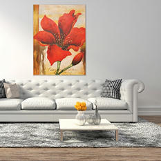 Canvas Oil Painting - Hand-Painted Red Flower