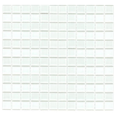 "1"" White Mosaic Glass Tile - 6 pk. - 12"" x 12"" Sheets"