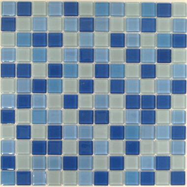 Blue & White Mosaic Glass Tile - 6 - 12