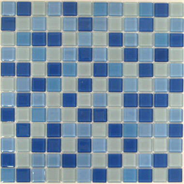 Blue & White Mosaic Glass Tile - 6 - 12