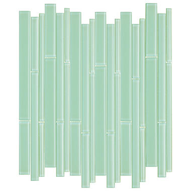 Green Bamboo Mosaic Glass Tile  - 6 - 12