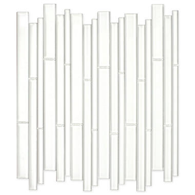 White Bamboo Mosaic Glass Tile - 6 - 12