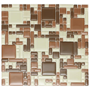 "Mixed Brown Mosaic Glass Tile - 6 - 12"" x 12"" Sheets"