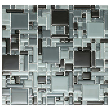 "Mixed Black Mosaic Glass Tile - 6 - 12"" x 12"" Sheets"