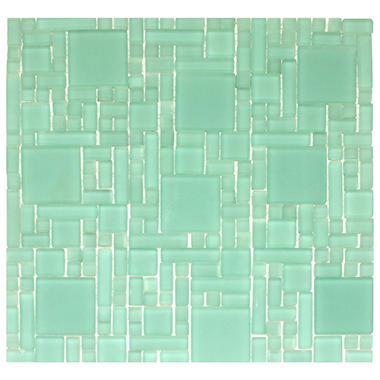 "Frosted Green Mosaic Glass Tile - 6 - 12"" x 12"" Sheets"