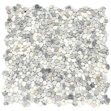 Small White Mosaic Pebble Tile - 6 - 12
