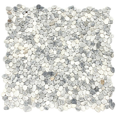 Small White Mosaic Pebble Tile - 6 - 12