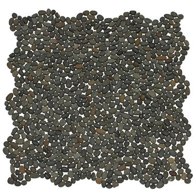 Small Black Mosaic Pebble Tile - 6 - 12