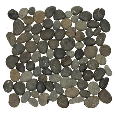Large Black Mosaic Pebble Tile - Sample