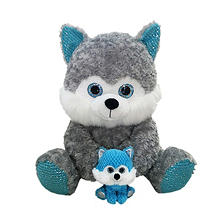Eye-enormous Plush Husky with Baby