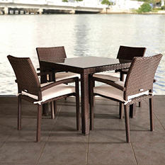 Andana Square Brown Synthetic Wicker Patio Dining Set with Off-White Cushions (5 pcs.)