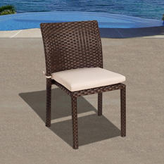 Andana Brown Synthetic Wicker Patio Chair Set with Off-White Cushions (4 pcs.)