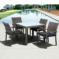 Andana Square Gray Synthetic Wicker Patio Dining Set with gray Cushions (5 pcs.)