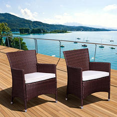 Andana Deluxe Brown Synthetic Wicker Patio Armchair Set with Off-White Cushions (2 pcs.)