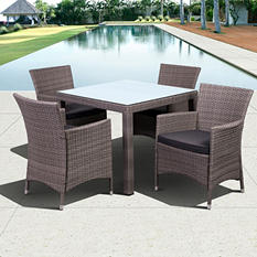 Andana Deluxe Square gray Synthetic Wicker Patio Dining Set with gray Cushions (5 pcs.)