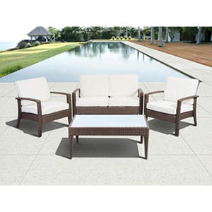 Cavalier Brown Synthetic Wicker Patio Seating Set with Off-White Cushions (4 pcs.)