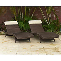 Cavalier Brown Synthetic Wicker Patio Lounge Chair with Off-White Cushion (2 pcs.)