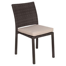Andana Gray Synthetic Wicker Patio Chair Set with Off-White Cushions (4 pcs.)