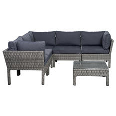 Ribera Gray Synthetic Wicker Patio Seating Set with Gray Cushions (6 pcs.)
