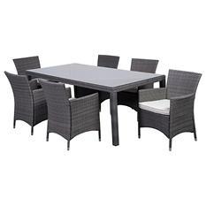 Rectangular Gray Synthetic Wicker Patio Dining Set with gray CushionsInternational Home Miami (7 pcs.)
