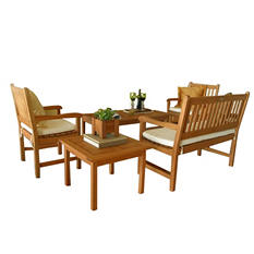 Madrid Eucalyptus Patio Seating Set (5 pcs.)