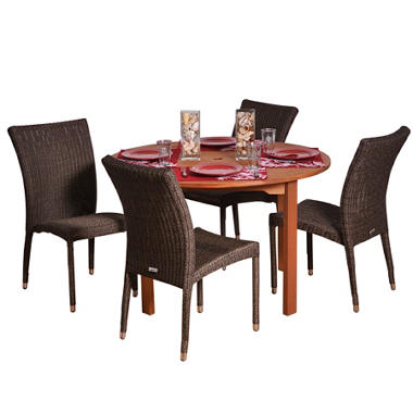 Catalunya Eucalyptus/Wicker Round Patio Dining Set (5 pcs.)