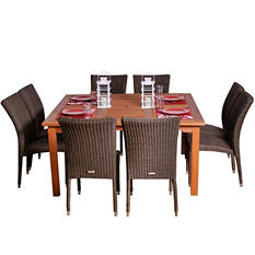 Catalunya Eucalyptus/Wicker Square Patio Dining Set (9 pcs.)