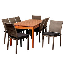 Andana Eucalyptus/Wicker Rectangular Patio Dining Set with gray Cushions (9 pcs.)