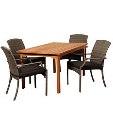Sandoval Eucalyptus/Wicker Rectangular Patio Dining Set with Gray Cushions (5 pcs.)