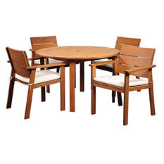 Mestalla Eucalyptus Round Patio Dining Set with Beige & Off-White Striped Cushions (5 pcs.)