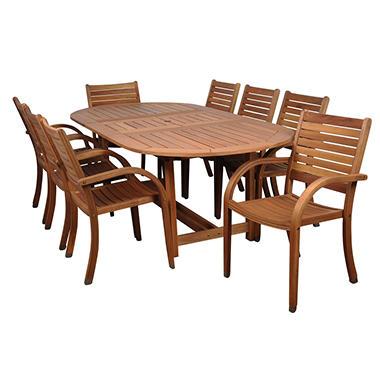 Andalusia Eucalyptus Extendable Oval Patio Dining Set (9 pcs.)