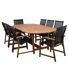 Sabadel Eucalyptus Extendable Oval Patio Dining Set (9 pcs.)