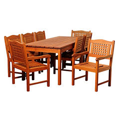 Cordoba Eucalyptus Rectangular Patio Dining Set (9 pcs.)