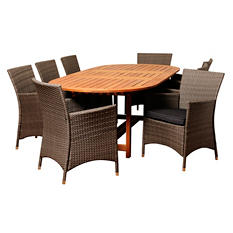 Medina Eucalyptus/Wicker Extendable Oval Patio Dining Set with Gray Cushions (9 pcs.)