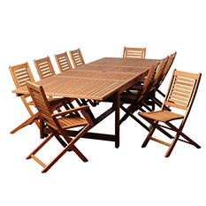 Alameda Eucalyptus Extendable Rectangular Patio Dining Set (11 pcs.)