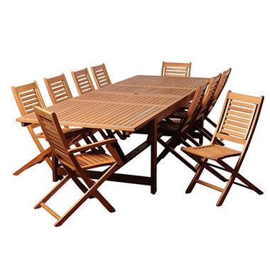 Alameda Eucalyptus Extendable Rectangular Patio Dining Set 11 Pcs Sam 3