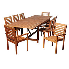 Madrid Eucalyptus Extendable Rectangular Patio Dining Set (9 pcs.)