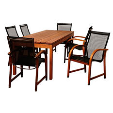 Burgos Eucalyptus Rectangular Patio Dining Set (7 pcs.)