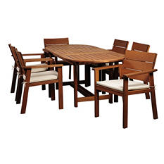 Elche Eucalyptus Extendable Oval Patio Dining Set with Beige & Off-White Striped Cushions (7 pcs.)