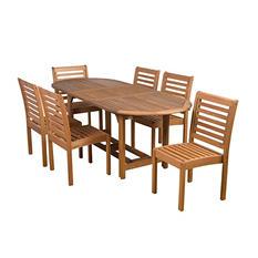 Getafe Eucalyptus Extendable Oval Patio Dining Set (7 pcs.)