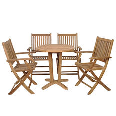 Cittadella Teak Round Patio Bistro Set (5 pcs.)